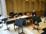 Richard Egarr warms up on the harpsichord