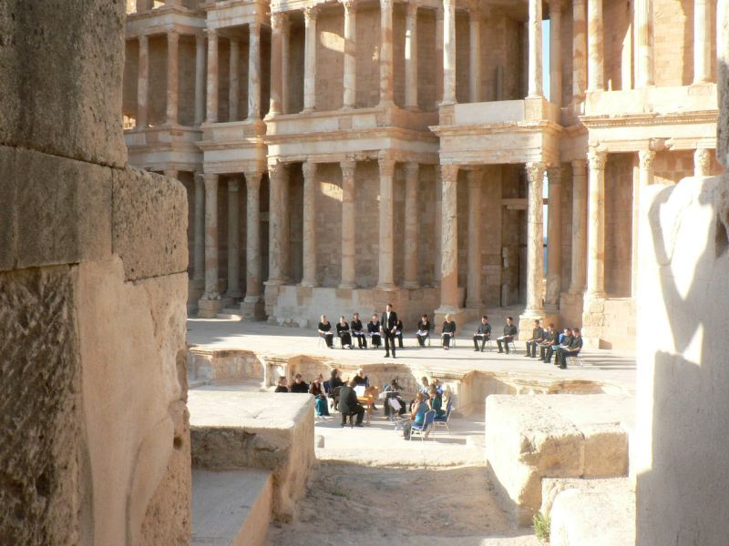 Choir of the AAM performing Purcell at Sabratha, Libya
