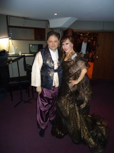 Sumi Jo and Richard Egarr after one of the many encores in Taipei, wearing traditional Korean dress