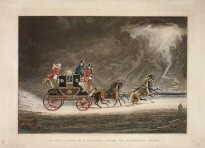 The mail coach in a thunderstorm on Newmarket Heath, Suffolk, 1827